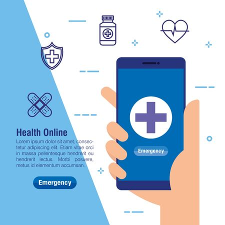 hand with smartphone technology and medical service vector illustration Ilustrace