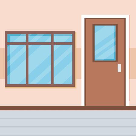 school corridor with door and window vector illustration design