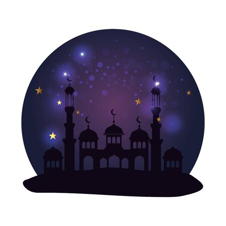 ramadan kareem castle night time scene vector illustration design