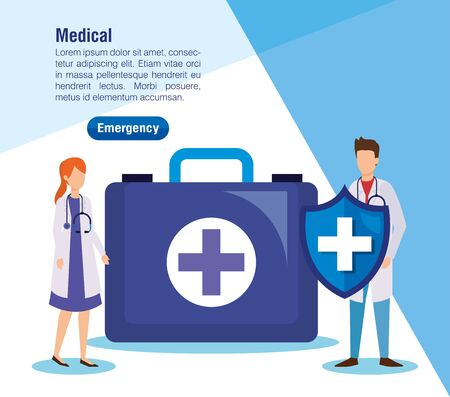 woman and man doctors with first aid vector illustration Illustration