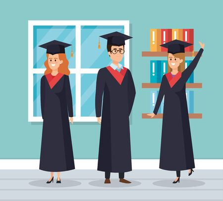 happy women and man graduation with rope and bookcase vector illustration Ilustração
