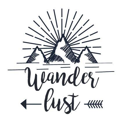 montaña nevada con flecha a la ilustración de vector de aventura de pasión por los viajes Ilustración de vector