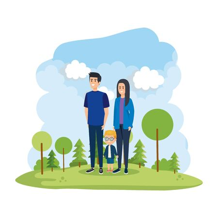 parents couple with son in the park scene vector illustration design