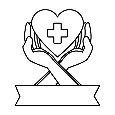 hands protecting medical heart with cross vector illustration design Ilustrace