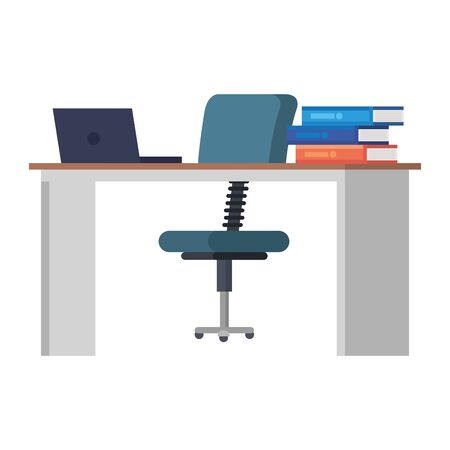 office desk with laptop and books workplace scene vector illustration design Çizim