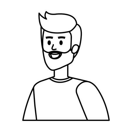 young man with beard character vector illustration design Иллюстрация