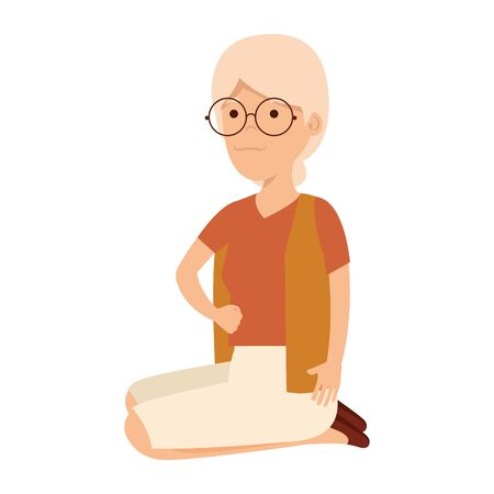 old woman in lotus position character vector illustration design Illustration