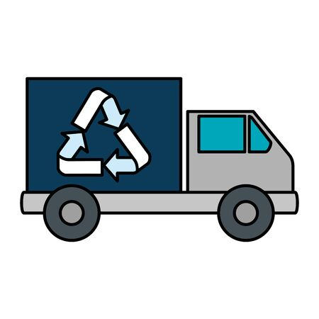 truck with recycle arrows symbol vector illustration design