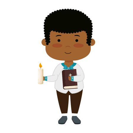 little black boy with bibble and candle first communion vector illustration design