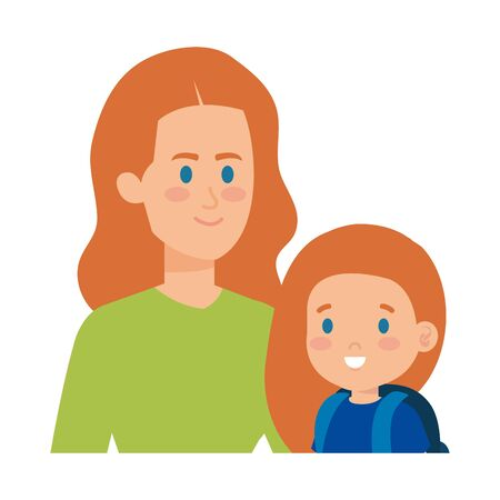 young mother with little daughter vector illustration design Standard-Bild - 125313733