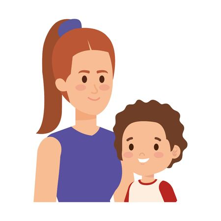 young mother with little son characters vector illustration design