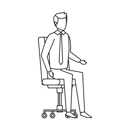 elegant businessman sitting in office chair vector illustration design Illustration