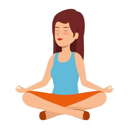 beautiful woman practicing yoga vector illustration design Illustration