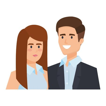 business couple avatars characters vector illustration design Illustration