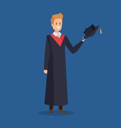 man univerity graduation with rope and cap in the hand vector illustration Ilustração