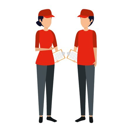 delivery workers couple characters vector illustration design
