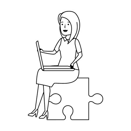 young businesswoman sitting in puzzle piece vector illustration design Ilustrace
