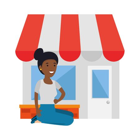 young black woman in lotus position with store building vector illustration design