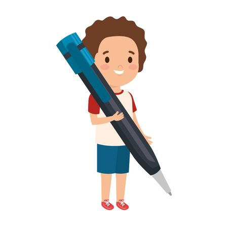 little boy student with pen vector illustration design