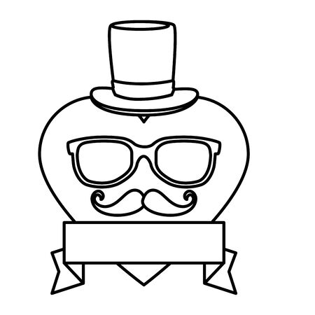 eyeglasses and mustache with tophat in heart vector illustration design Çizim