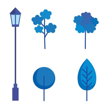 plants and lantern of park vector illustration design Çizim