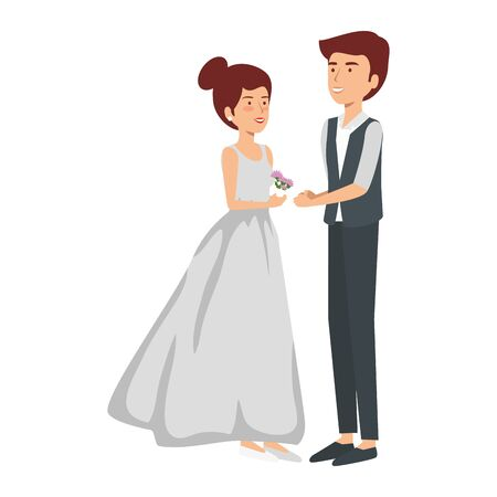 recently married couple characters vector illustration design
