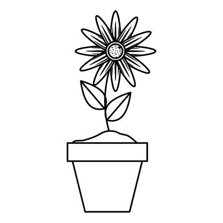 sunflower in pot icon vector illustration design