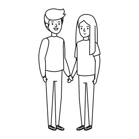little kids couple characters vector illustration design Ilustração