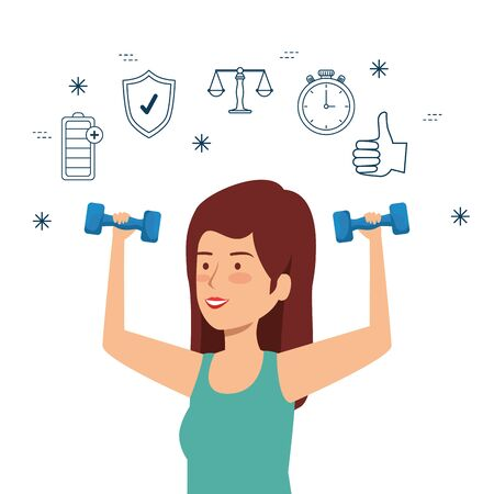 woman with dumbbells to health exercise balance vector illustration Illustration
