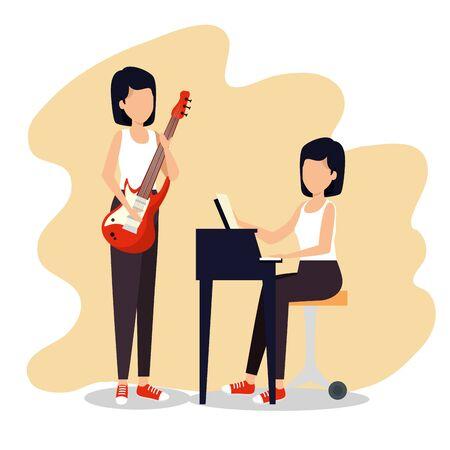 women play music instrument to jazz festival vector illustration