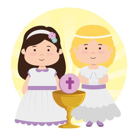girls with dress and chalice to first communion vector illustration