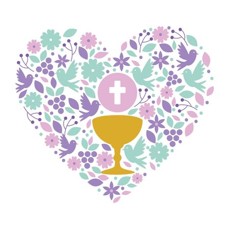 first communion in chalice with floral heart decoration vector illustration design 일러스트