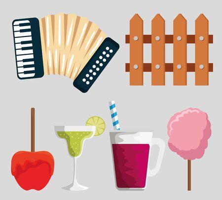 set party decoration to festa junina celebration vector illustration