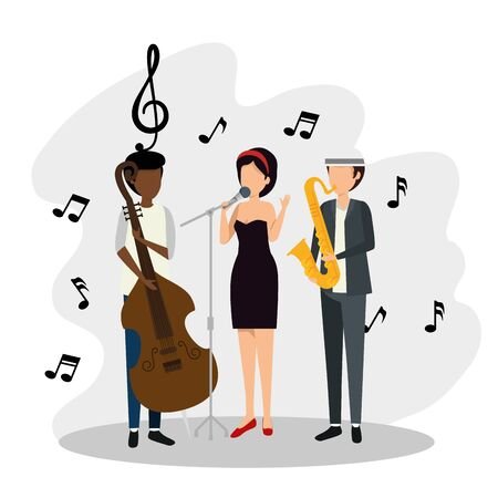 men and woman with music signs notes vector illustration