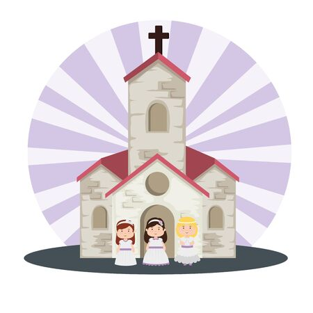 church and girls with dress to first communion vector illustration