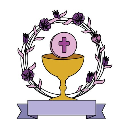 first communion in chalice with floral crown vector illustration design Standard-Bild - 125424915