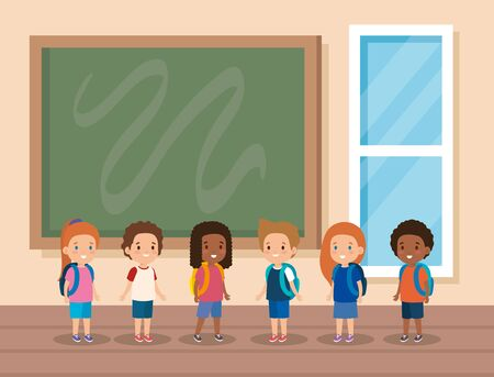 kids students in the classroom with blackboard and window vector illustration