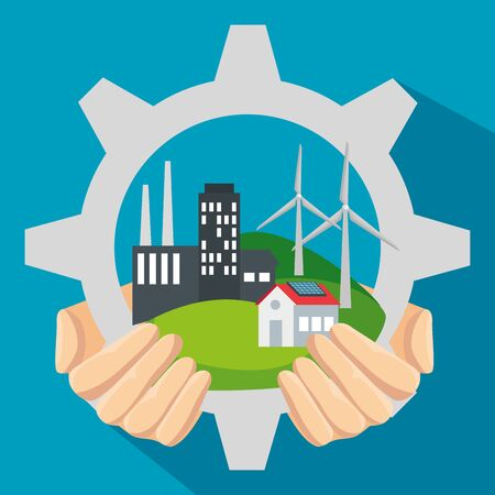 label gear with wind and solar energy sustainable vector illustration 向量圖像