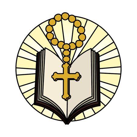 Heilige Bibel mit Rosenkranz-Vektor-Illustration-Design Vektorgrafik