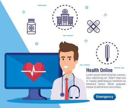man doctor with computer technology and heartbeat vector illustration