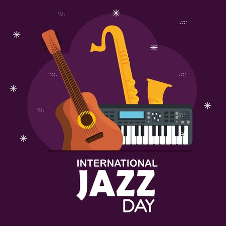guitar with piano and saxophone to jazz day vector illustration