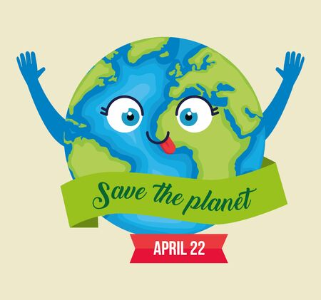 planet with eyes and tongue to earth day vector illustration Çizim
