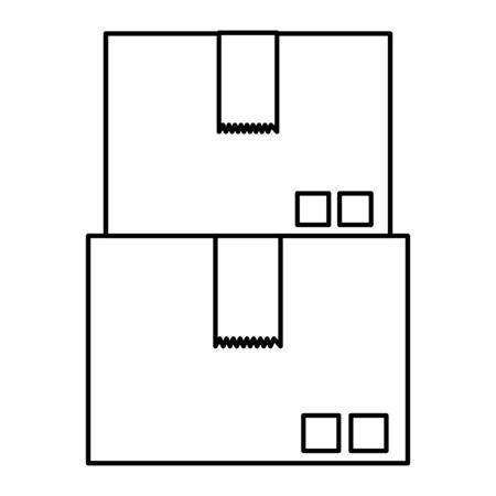 boxes carton packing delivery service vector illustration design Illustration