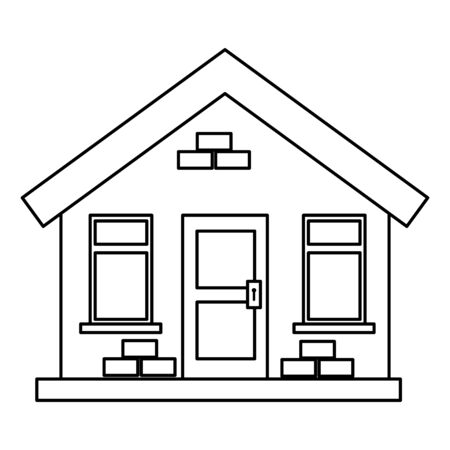 house building facade isolated icon vector illustration design Çizim