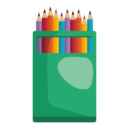 colors pencils box education icon vector illustration design