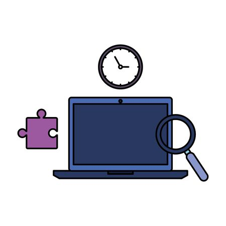 laptop with time clock and business icons vector illustration design