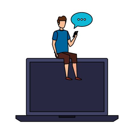 man seated in laptop using smartphone with speech bubble vector illustration Vectores