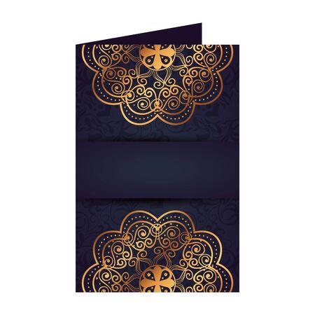 postcard with golden mandala victorian style vector illustartion design