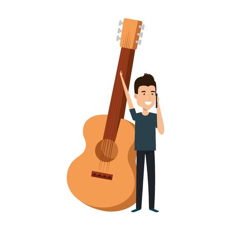 young man with guitar instrument vector illustration design