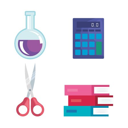 set of erlenmeyer flask with calculator and scissors and books to back to school vector illustration